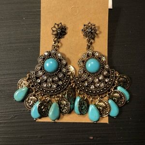 Faux Turquoise Statement Earrings